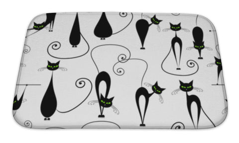 Bath Mat, Black Cats Pattern For Your Design