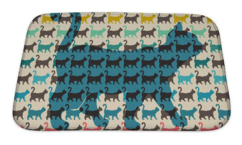 Bath Mat, Pattern With Colorful Cats With Curved Tails