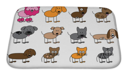 Bath Mat, Collection Of Cute Stick Figure Pets And Animals