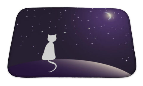 Bath Mat, Lonely Cat Watching Stars