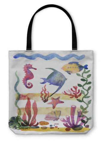 Tote Bag, Different Sea Shells Corals And Starfish