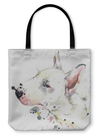 Tote Bag, Bull Terrier Dog Tshirt Graphics Dog Illustration With Splash Watercolor D