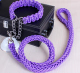 Double Strand Rope Large Dog Leashes Metal P Chain Buckle National Color Pet Traction Rope Collar Set For Big Dogs 1.2m Length