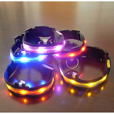 Dog Collar LED Lights Adjustable / Retractable Textile Plastic Blue Pink Rainbow