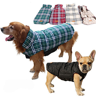 Dog Coat Vest Winter Dog Clothes Brown Green Red Costume Husky Labrador Alaskan Malamute Cotton Plaid / Check Waterproof Keep Warm Reversible XS S M L XL XXL
