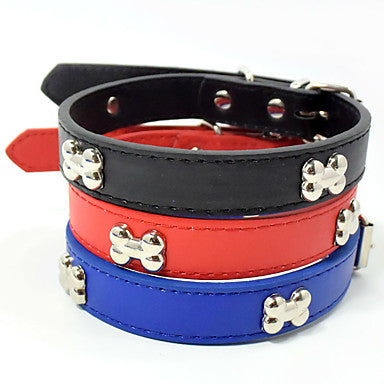 Cat Dog Portable Solid Colored Bone Nylon Black Red Blue