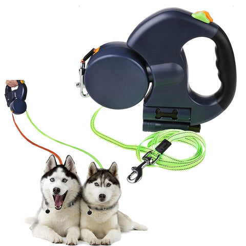 Double Dog Leash with Two 3 Meters Long Cords- Retractable Pet Leash for Walking 2 Dogs Up to 50Lbs Each with Poop Bag Dispenser