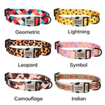 Fashion Print Personalized Engraved Name Dog Collar Leash Custom Puppy Pet Collars ID Tag for Small Medium Large Big Dogs