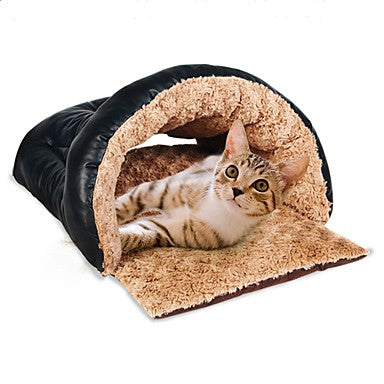 Dogs Cats Pets Bed Tent Cave Bed Pet House Plush Fabric Pet Liners Solid Colored Warm Tent washable Brown
