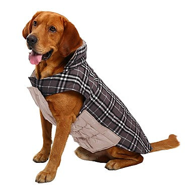 Dog Coat Vest Winter Dog Clothes Reversible Brown Green Red Costume Cotton Plaid / Check Keep Warm Reversible XS S M L XL XXL