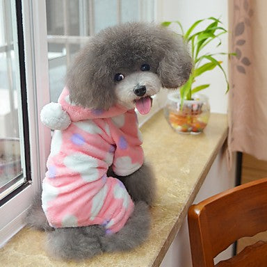 Cat Dog Hoodie Jumpsuit Pajamas Winter Dog Clothes Black Pink Costume  Polar Fleece Polka Dot Casual / Daily S M L XL XXL