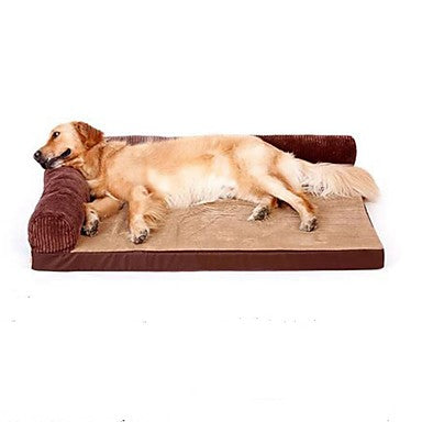 Dogs Pets Bed Sofa Cushion Lounge Sofa Oxford Cloth Pet Mats & Pads Solid Colored Warm washable Cartoon Brown