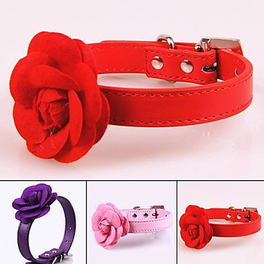 Dogs Collar Portable Retractable For Dog / Cat Solid Colored Flower / Floral PU Leather / Polyurethane Leather Purple Red Pink