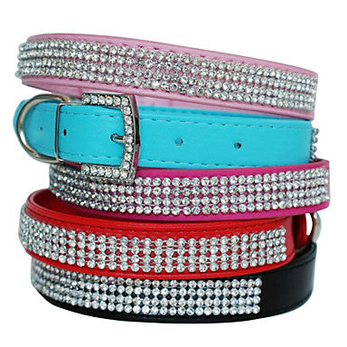 Dog Collar Adjustable / Retractable Rhinestone PU Leather Red Blue Pink
