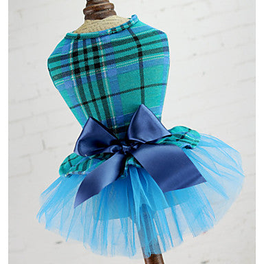 Dogs Cats Pets Dress Dog Clothes Green Red Blue Costume Polyster Voiles & Sheers Plaid / Check Bowknot Wedding XS S M L XL