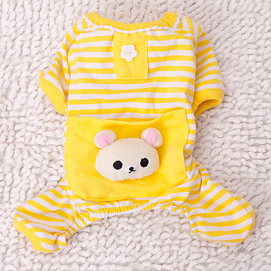 Cat Dog Jumpsuit Pajamas Winter Dog Clothes Yellow Blue Pink Costume Husky Labrador Golden Retriever Cotton Cartoon Casual / Daily Cute XS S M L XL