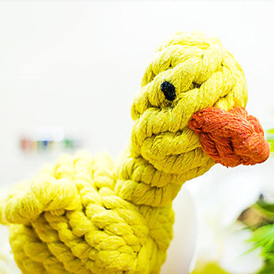 Little Yellow Duck Shape Handmade Rope Pets Toy