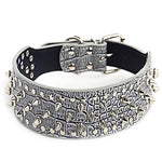 Dog Collar Portable Solid Colored PU Leather Black Brown White
