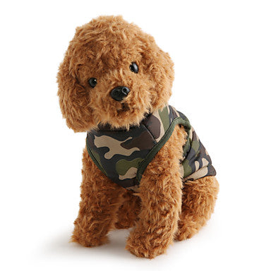 Dog Coat Vest Winter Dog Clothes Breathable Camouflage.