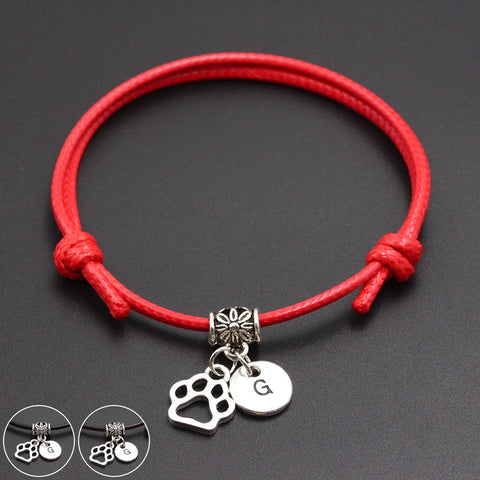 A-Z English Alphabet Dog Paw Print Charm Red Thread String Bracelet Handmade DIY Lucky Rope Bracelet For Women Men Jewelry