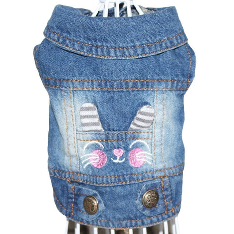 Stylish Embroidery Design Denim Pet Vest Dog Clothes Spring Fashion Puppy Clothing Cowboy Summer Jacket Jeans Dog Accessories