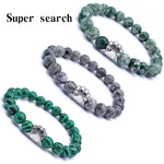 Green and Gray Striped Natural Stones Mala Beads Bear Cat Dog Paw Footprint Charm Bracelet Chakra For Pet Lover Animal Jewelry