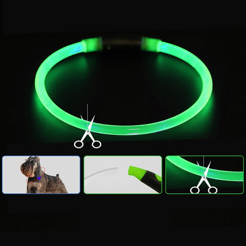 Anti-Lost LED Pet dog Collar Night Safety Flashing Glow In The Dark Dog Leash Dogs Luminous Fluorescent Collars Pet Supplies*5