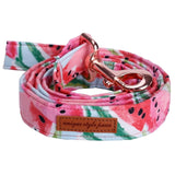Watermelon Pink Cotton Fabric Dog Collar and Leash Set with Bow Tie for Big and Small Dog Rose Gold Metal Buckle Pet Accessories
