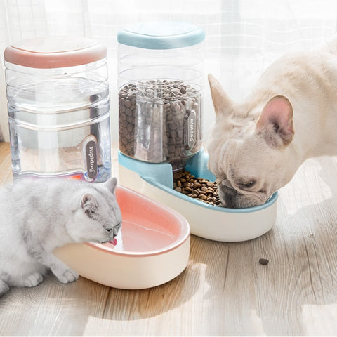 2019 OLN 3.8L Pet Cat Automatic Feeders Plastic Dog Water Bottle Large Capacity Food Water Dispenser Cats Dogs Feeding Bowls