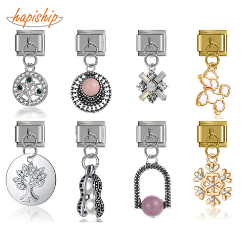 Hapiship Original Daisy Bowknot Peanut Dog Snowflake Tree CZ Charm Fit 9mm Bracelet Stainless Steel Jewelry DIY Making DJ234