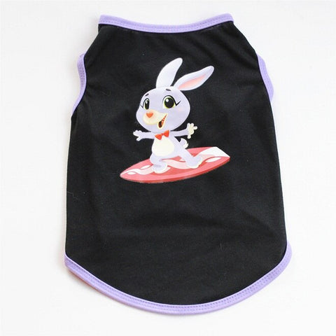 Rabbit Easter Holiday Pet Clothing With Black Background Summer Dress Breathble Cotton Soft Material