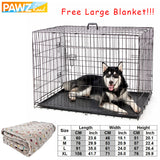 Free Gift Domestic Delivery Pet Dog Cages House Crate Double-Door Collapsible Easy Install 4 Size Dog Houses for Small Large Dog