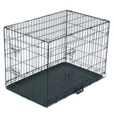 Black Pet Folding Wire Cage Double Open Door Cat Dog Cage With Divider Bar And Plastic Tray Travel Pet Kennel Supplies