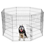 8 Panel Portable Folding Dog Animal Pet Playpen Metal Black Wire Fence Dog Exercise Yard Popup Kennel Crate Tent Cage - US Stock