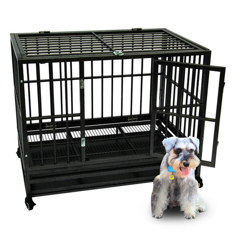 "42"" Heavy Duty Dog Cage Crate Kennel Metal Pet Playpen Portable With Tray Large Strong Metal Cage For Large Dogs Pets new"