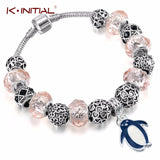 Kinitial Fashion Dog Footprint Flower Murano Glass&Crystal European Charm Beads Fits diy Style Heart Charms Bracelets for women