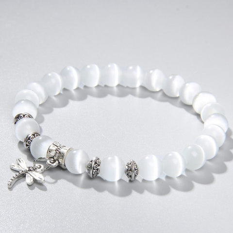 8mm white Cat Eye stone Beads Bracelet with Lucky dragonfly Dog claw butterfly Pendant Charms Strand Bracelets For Women female