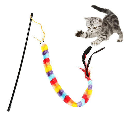 Funny Cat Toy Fishing Rod Kitten Cat Pet Toy Stick Teaser Rainbow Streamer Interactive Cat Play Wand With Feather Toys For Cats