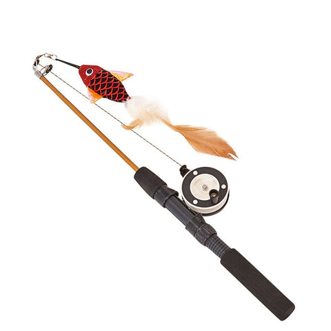 Retractable Cat Toy Fish Type Telescopic Feathers Funny Cat Stick Pet Toy Cat Rods Simulation Fishing Rod