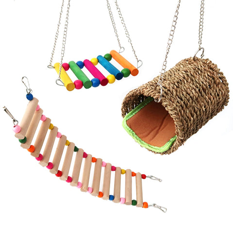 3pcs/set Birds Standing Rack Parrot Toy Bird Pet Parrot Ladders Climbing Toy Hanging Natural Wood Bird Toys Accessories Supplies