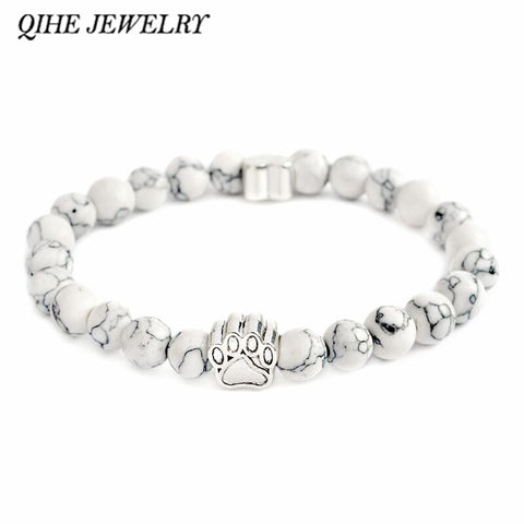 QIHE JEWELRY Tiny Anitique Paw Charm Stone Bracelet Pet Memorial Cat Dog Lovers Jewelry For Men Women Unisex