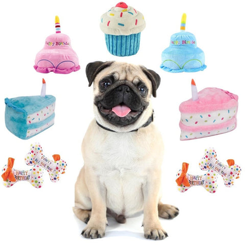 Pet Birthday Cake Plush Squeaky Toy Soft Cute Animals Chew Toy For Cleaning Grinding Teeth Cat Dog interactive toys Supplies #