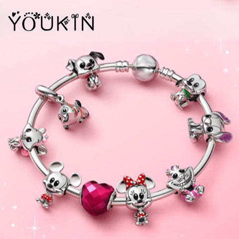 New Disny Cartoon Animal Charms Anime Mickey Jewelry for Women Catoon Dog & Cat & Minnie Beads Fit Original Pandor Bracelet Gift