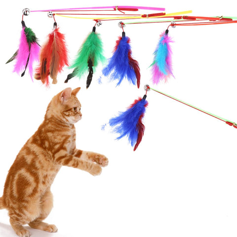 5 Pcs Colorful Wire Feather Cat Toys On A Rod Belling Colorful Feather Teaser Play Pet Dangler Cat Feather Wand Toys