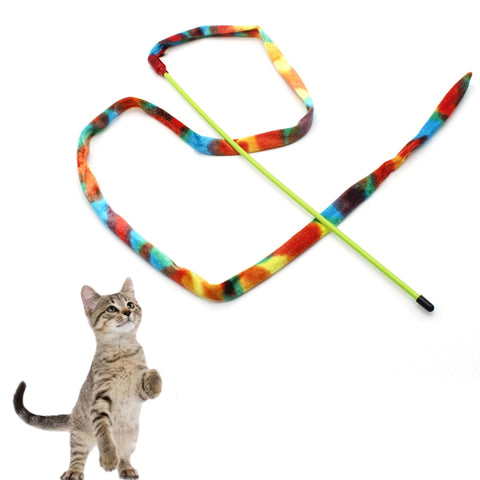 Turkey fluff Cat Stick Healthy Funny Colorful Rod Teaser Wand Plastic Pet Toys for Cats Interactive Stick Cat Supplies