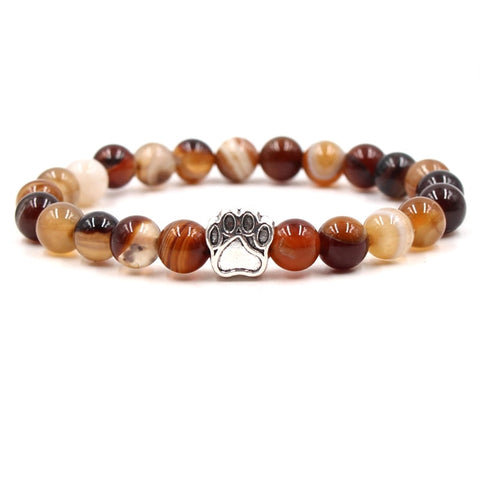yoga 7 Color Colourful Natural Stone Beads Bracelets Dog Cat Footprint Paw Charms mala 108 Bracelet Pet Lover Strend Jewelry