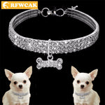 RFWCAK New 3 Row Rhine A Stone Elastic Line Rhinestone Pet Necklace Alloy Diamond Dog Collar Leashes Cat Puppy Dogs Accessories