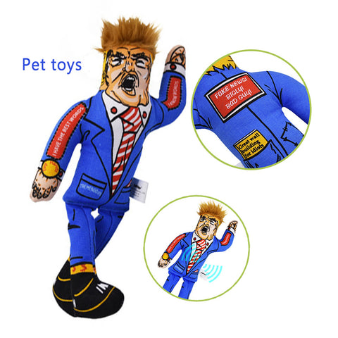 Popular Pet Dog Toys Donald Trump Funny Canvas Durability Plush Dog Toys Squeak Chew Sound Toy Fit for All Pets  Funny Toys