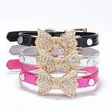 Cat Dog Collar Rhinestone PU Leather Blue Pink Golden