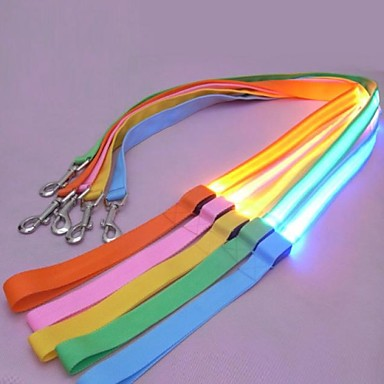 Cat Dog Leash LED Lights Nylon Red Green Blue